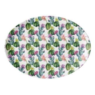 Aquarell-Kaktus-Kunst-Muster Porzellan Servierplatte