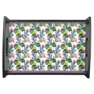 Aquarell-Kaktus-Kunst-Muster Tablett