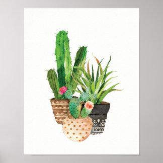 Aquarell-Kaktus und saftige Gruppe Poster