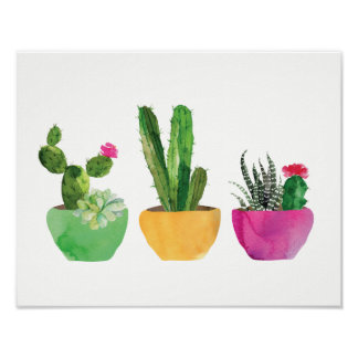 Aquarell-Kaktus und saftiger Druck Poster