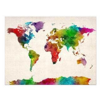 Aquarell-Karte der Weltkarte Fotodruck