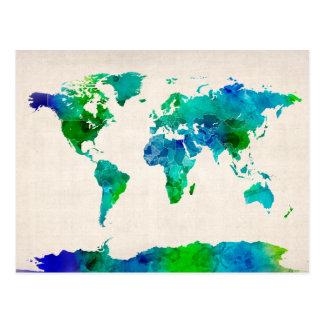 Aquarell-Karte der Weltkarte Postkarte