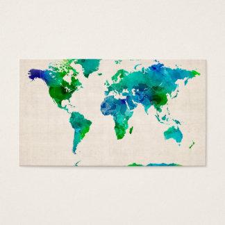 Aquarell-Karte der Weltkarte Visitenkarten