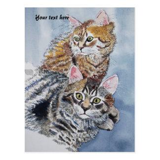 Aquarell-Katzen-Stillstehen Postkarte