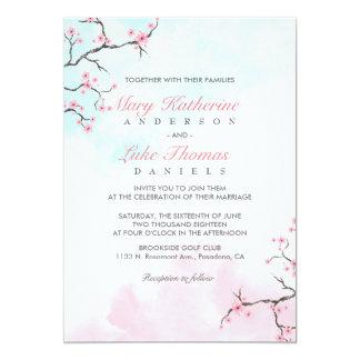 Aquarell-Kirschblüte der Hochzeits-Einladungs-| Karte