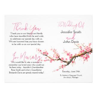 Aquarell-Kirschblüten, die Programm Wedding sind 21,6 X 27,9 Cm Flyer