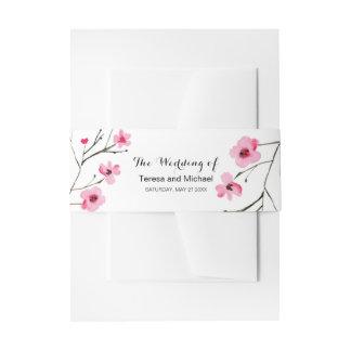 Aquarell, Kirschblüten-Hochzeit Einladungsbanderole