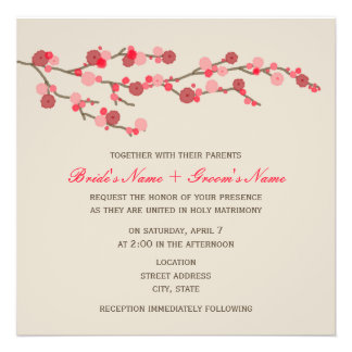Aquarell-Kirschblüten-Hochzeit laden ein Einladungskarten