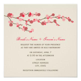 Aquarell-Kirschblüten-Hochzeits-Einladung Quadratische 13,3 Cm Einladungskarte
