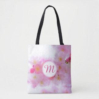 Aquarell-Kirschblüten-Monogramm-Tasche Tasche