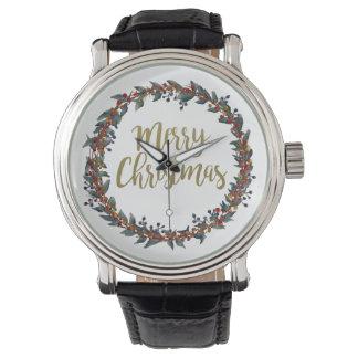 Aquarell-Kranz - frohe Weihnachten - Uhr