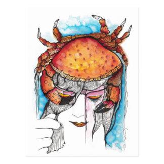 Aquarell-Krebs-Krabben-Frau Postkarte
