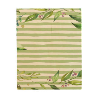 Aquarell-Kunst-mutiges Grün Stripes Blumenmuster Holzwanddeko