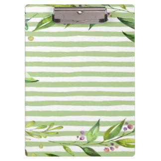 Aquarell-Kunst-mutiges Grün Stripes Blumenmuster Klemmbrett