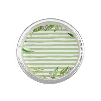 Aquarell-Kunst-mutiges Grün Stripes Blumenmuster Ring
