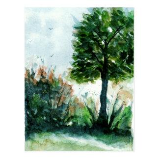 Aquarell-Landschaftskunst-Baum-Natur-Jahreszeiten Postkarte