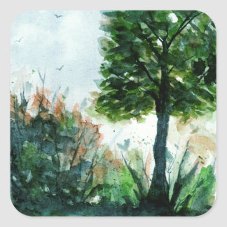 Aquarell-Landschaftskunst-Natur-Sommer-Baum Quadratischer Aufkleber