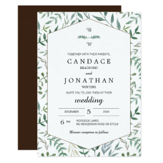 Aquarell-Laub-Grün-Hochzeit Karte