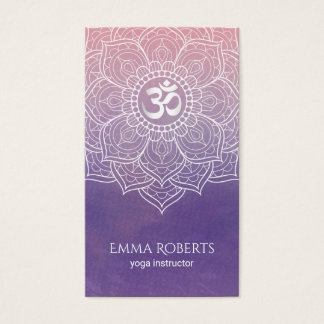 Aquarell-Lotus-Mandala Namaste Yoga Visitenkarte