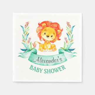 Aquarell-Löwe-Babyparty Papierserviette