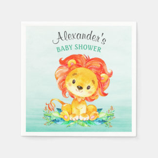 Aquarell-Löwe-Babyparty Papierservietten