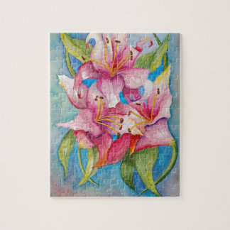 Aquarell-malende Gruppe Lilien Puzzle