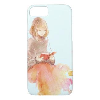 Aquarell-Malerei des Mädchens ein rotes Buch iPhone 8/7 Hülle