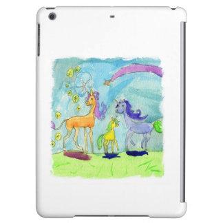 Aquarell-Malerei mit Einhorn-Pony-Familie