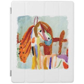 Aquarell-Malerei mit mehrfarbigem Pferd iPad Hülle