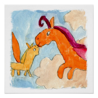 Aquarell-Malerei mit Pegasus und seinem Fohlen Poster