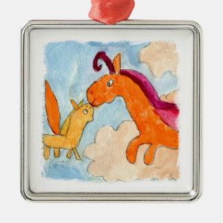 Aquarell-Malerei mit Pegasus und seinem Fohlen Silbernes Ornament
