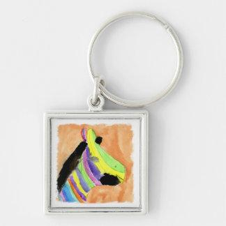 Aquarell-Malerei mit RegenbogenZebra Schlüsselanhänger