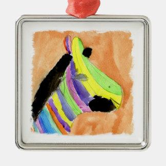 Aquarell-Malerei mit RegenbogenZebra Silbernes Ornament
