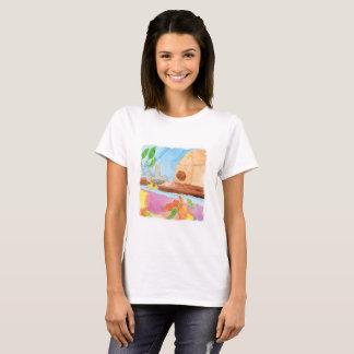 Aquarell-Malerei mit Vogel in der Natur T-Shirt
