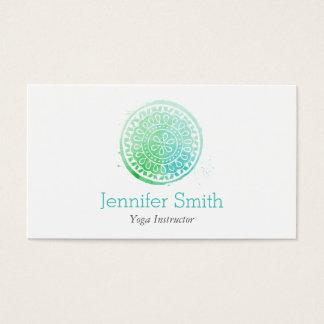 Aquarell-Mandala-Grün/Aquayoga und Wellness Visitenkarten