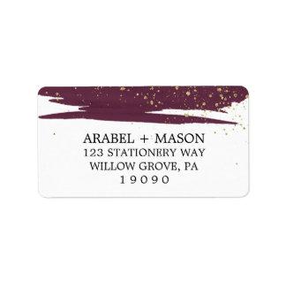 Aquarell Marsala und Goldschein-Hochzeit Adressetikett