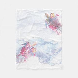 Aquarell-Meeresschildkröte Fleecedecke