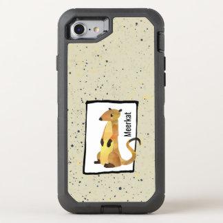 Aquarell Meerkat auf einem beige Hintergrund OtterBox Defender iPhone 8/7 Hülle