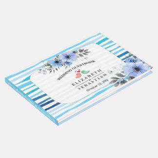 Aquarell mit Blumen u. blaue Streifen, die Gästebuch