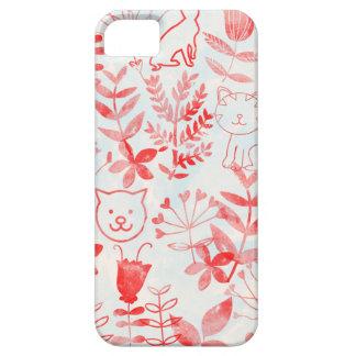 Aquarell mit Blumen u. Katzen iPhone 5 Hüllen