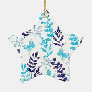 Aquarell mit Blumen u. Schmetterling Keramik Stern-Ornament