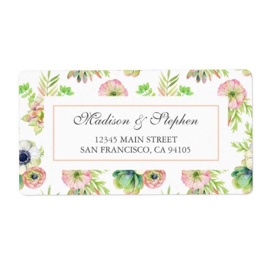 Aquarell mit Blumen u. Succulents - Hochzeit Großer Adressaufkleber