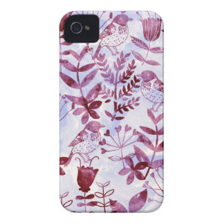 Aquarell mit Blumen u. Vögel II iPhone 4 Cover