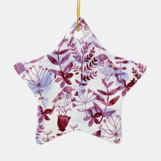 Aquarell mit Blumen u. Vögel II Keramik Stern-Ornament