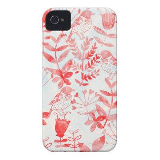 Aquarell mit Blumen u. Vögel iPhone 4 Case-Mate Hülle