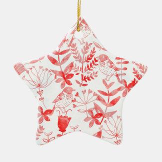 Aquarell mit Blumen u. Vögel Keramik Stern-Ornament