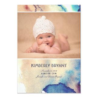 Aquarell-moderne gemalte Baby-Geburts-Mitteilung Karte
