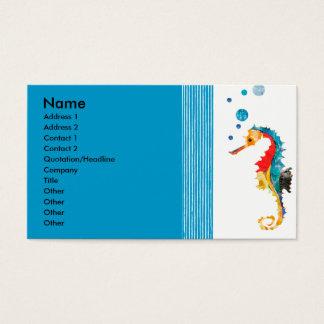 Aquarell-moderne Seepferddurchbrennenblasen Visitenkarten