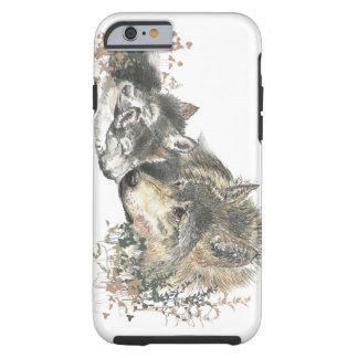 Aquarell-Mutter-Wolf-u. CUB-Tier-Kunst Tough iPhone 6 Hülle