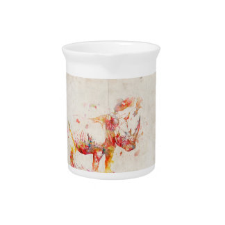 Aquarell-Nashorn-Digital-Malerei Getränke Pitcher